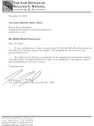 Legal testimonial letter