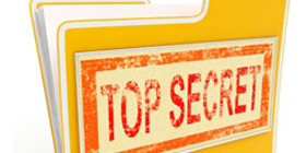 yellow folder with label that says top secret